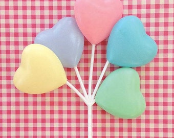 3 Pastel Heart Balloon Cupcake Picks Cake Toppers Valentine Decor Craft Supply Pink Yellow Green Blue Lavender
