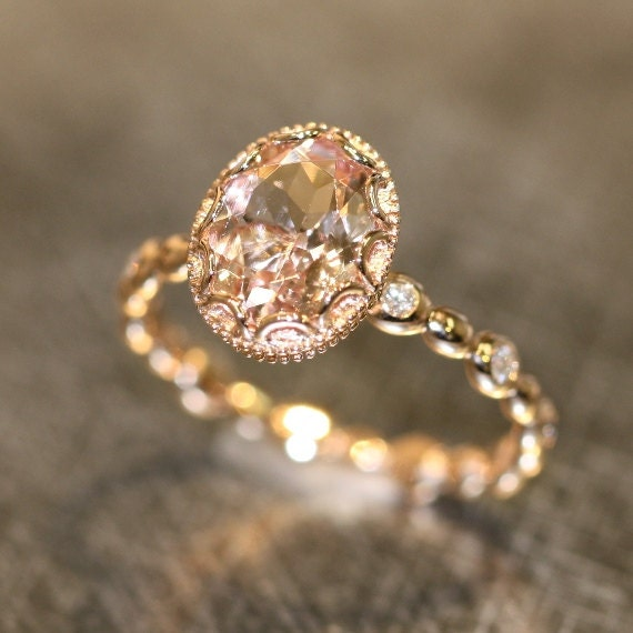 Floral Morganite Engagement Ring In 14k Rose Gold By