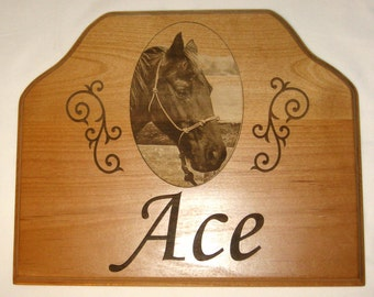 Personalized Horse Stall Name Plate- Engraved Image of Your Horse