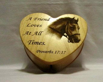 Personalized Heart Keepsake Box With Engraved Horse Photo