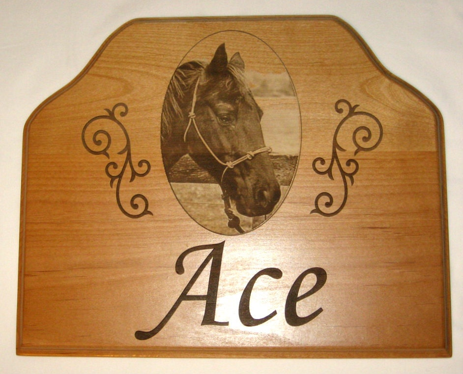 Personalized Horse Stall Name Plate Engraved Image of Your