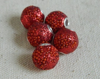 Beautiful Kashmiri Beads from India -- Red Glitter Grain -- 13mm -- 5pcs.