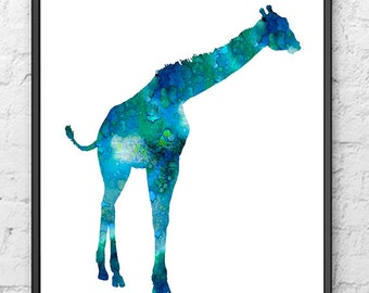 Blue Giraffe Watercolor Painting - Animal Art Wall Decor - 219