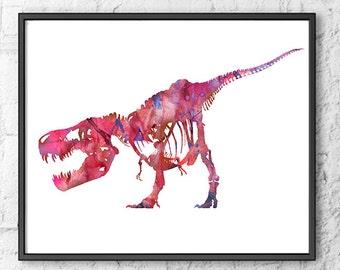 Art Print Pink T-Rex Painting Dinosaur  Watercolor, Kids Room Decor, Children Art, Home Decor - 256