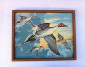 Vintage Paint By Numbers Framed Geese In Flight