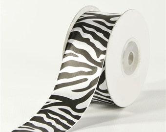 Satin Zebra Animal Print Ribbon, 1-1/2-inch, 25-yard, PSERZEBRS112