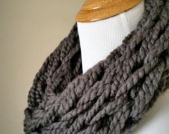 Grey Smoke Knit Infinity Scarf