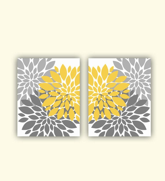 mustard yellow gray flower bursts wall art by. Black Bedroom Furniture Sets. Home Design Ideas