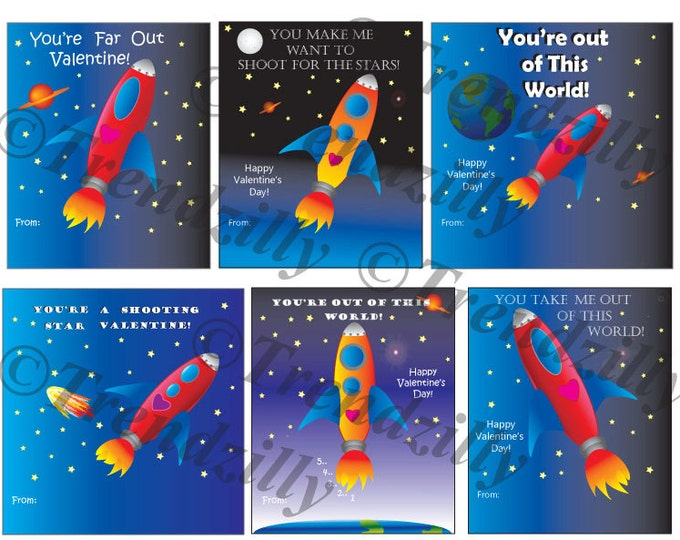 Kids Printable Valentine, Space Ship Valentine, Outer Space, Out of this World, Boy Valentine, Valentine's Day, Printable Download.