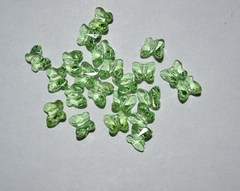5 - PERIDOT  6mm Genuine Swarovski Crystal BUTTERFLY Beads - Peridot