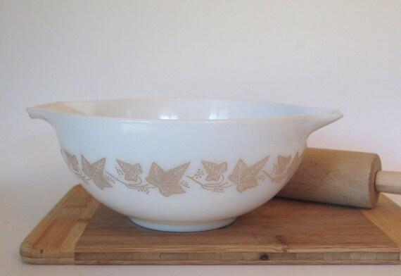 Vintage Pyrex Sandalwood Cinderella Bowl #443 with Leaves Opal 2 1/2 Quart Size Circa 1960's