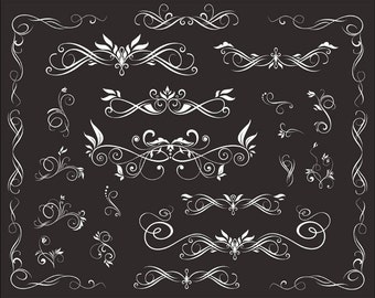 Instant Download Chalkboard Digital Flourish Swirl Border Frame Clip Art Border Frame Ornate Scrapbooking Decorative Embellishment 0114