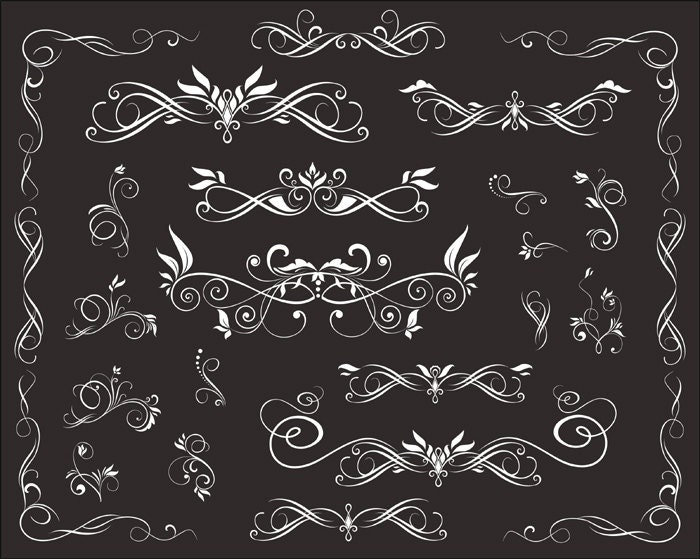 instant download chalkboard digital flourish swirl border frame clip art border frame ornate scrapbooking decorative embellishment - Decorative Chalkboards