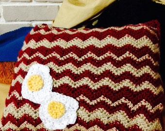 MADE TO ORDER Crochet bacon and Egg Pillow