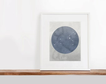 Leo Zodiac Printable Art, 8x10 inches, Nursery Art, Constellation Art, Watercolor Art Print, Digital File