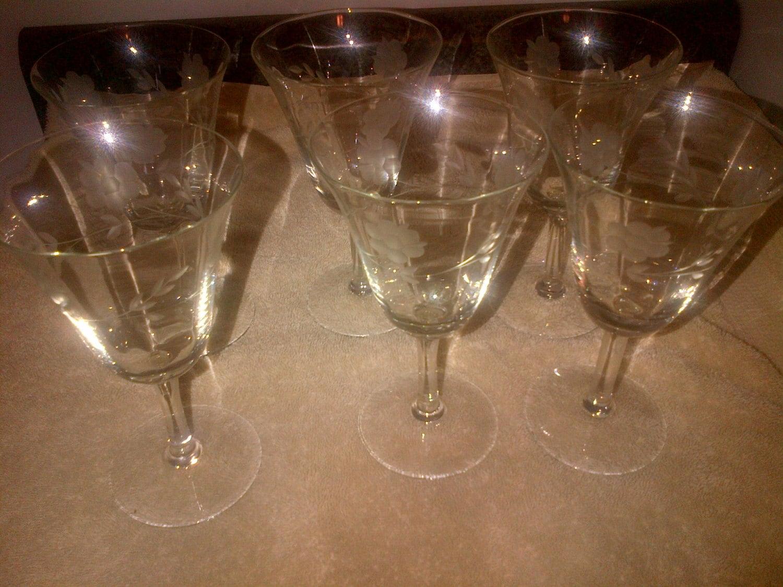 6 Etched Glass Fluted Wine Stem Glasses Flower Floral 5