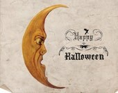 Digital Halloween Moon Illustration - Antique Vintage Halloween Moon and Happy Halloween Text Image Graphic Scrapbook - INSTANT DOWNLOAD
