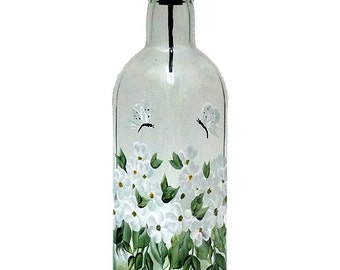 Hand Painted Glass Bottle Olive Oil Dispenser White Flowers Butterflies Hand Painted Glassware Painted Oil Vinegar Soap Dispensers Bottles