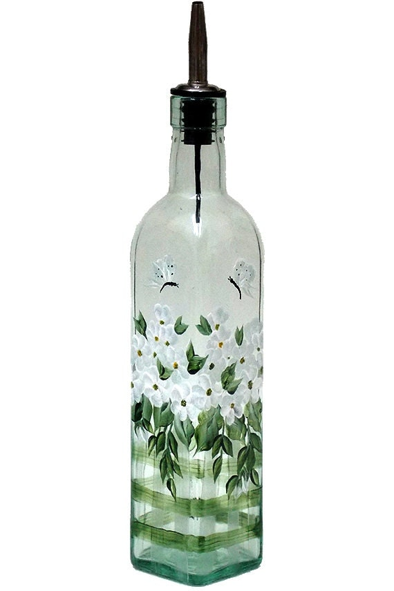 hand painted glass bottle olive oil dispenser white flowers