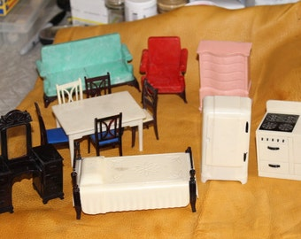 Vintage Doll House Furniture - Awesome Stove and Refrigerator !