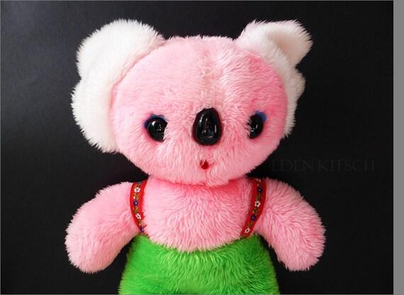 Carnival Toy Box Pink: Vintage Jestia 1960s Pink Plush Koala Bear Toy Carnival