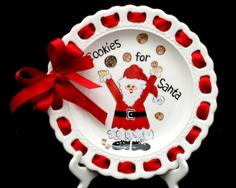 Cookies for Santa Ribbon Plate, Prissy Plate, Christmas Plate, Plate with Ribbon, Stocking Stuffer, Santa Cookies Plate