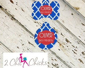 Personalized Pet Tag - Bone or Round Shape - Blue Trellis, Monogram Pet Tag, Cat Tag, Dog Tag, Aluminum light weight, Made in USA