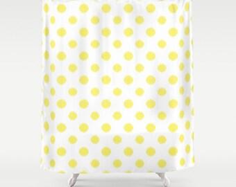 Shower Curtain - Yellow Polka Dots - Yellow Shower Curtain - Dorm Shower Curtain - Teen Shower Curtain - Girls Shower Curtain - Yellow