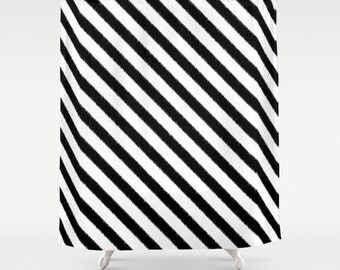 Striped Shower Curtain, Ikat, Black and White, Fabric Shower Curtain, Girls Bathroom Decor, Dorm Room Decor, Teen Girl Room Decor, Stripes