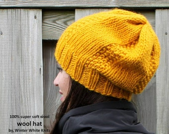 Knit hat in pure soft wool, beanie hat, mustard yellow knitted hat, 100% soft new wool, handknit hat, soft and cozy, winter fashion