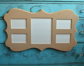 8x10 unfinished whimsical picture frame with 4-4x6 picture frames handmade