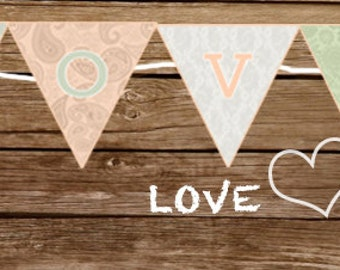 LOVE Banner  - Print At Home 'LOVE' Banner