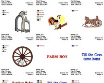 Farm Tractor Rooster Animals Theme  Embroidery Designs Collection Pack