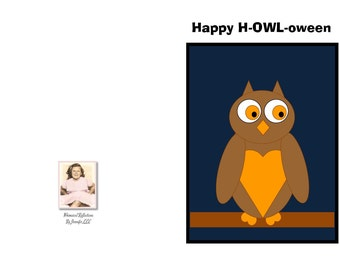 Happy H-OWL-oween is a handmade and uniquely hand written greeting card. Halloween Card, Special Occasion, General card, Fall, Cute Owl,