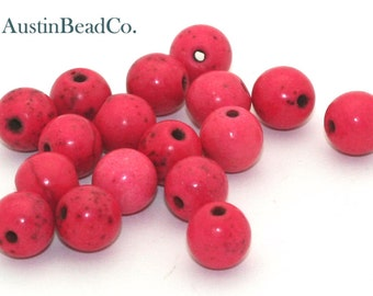 25pcs Round Stone Beads, Side Drilled -Howlite, Stone, Magnesite - Pink w/ Brown Veins, Size 8mm (G144)