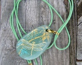 Necklace with jade. Hand painted. Gold dragonfly. Women's Fashion. Recent trends.