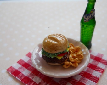 Miniature Cheese Burger with Sprite