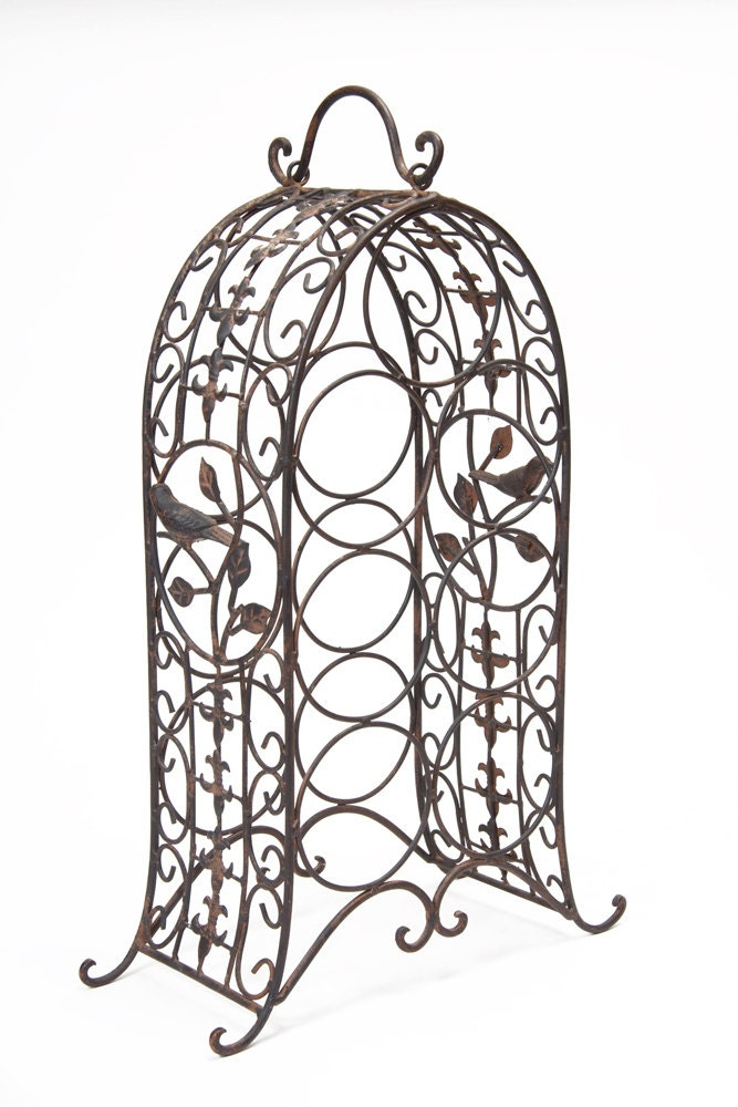 Vintage Rustic Wine Rack Wrought Iron Home Decor Metal Wine