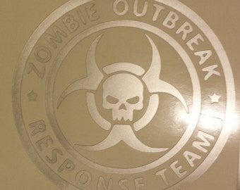 "Zombie Outbreak Response Team - 5.5"" Decal in Silver Vinyl"