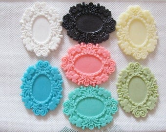 38.17mmx64.82mm Oval Thick Flatback Resin Flower Frame Charm Finding,Filigree Border Base Setting Tray,for 17mmx24mm Cabochon/Picture/Cameo