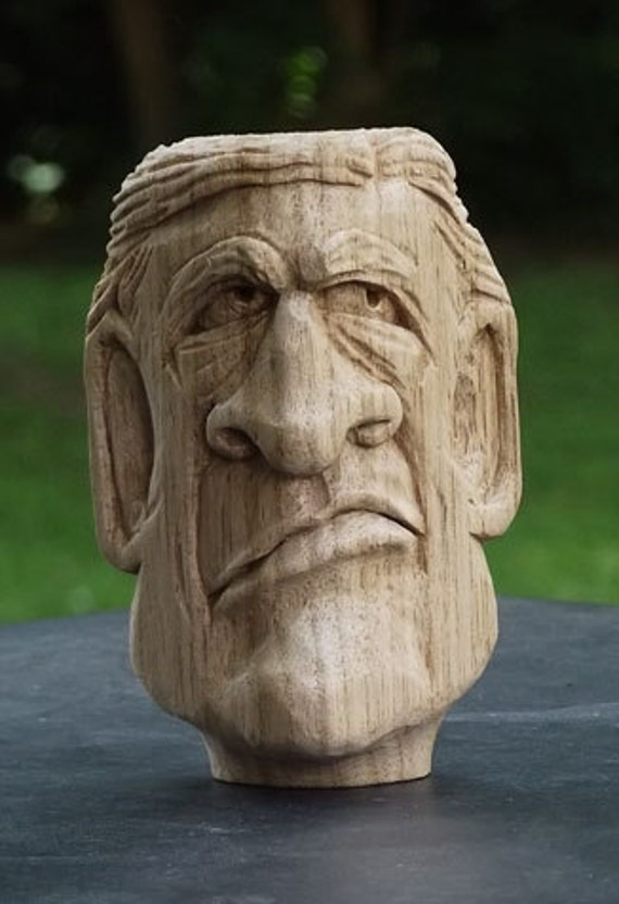 Relief carving ooak mans bust for him hand