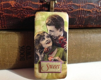 """Upcycled """"Vintage Couple"""" Domino Pendant Necklace"""