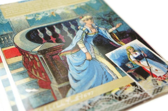 Cinderella by Perrault // 5.5 x 4.25 Vintage Inspired Postcard -- Fairy Tale Inspired Art