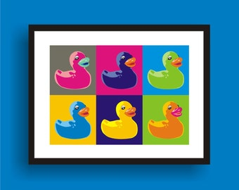 Rubber Ducky - Pop Art Original Print by C Wiedenheft  comes with a white mat and ready to frame.