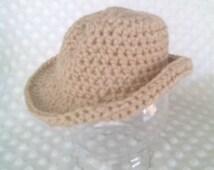 Newborn cowboy hat, crochet cowboy hat, cowboy photo prop, tan baby hat, infant cowboy hat, infant cowgirl costume, baby cowboy costume