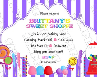Candy sweet shoppe invite any color invitation birthday party printable invitations UPrint customized card by greenmelonstudios