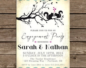 Engagement Party Invitations - Squirrels in LOVE -  printable diy - Woodland Whimsical Vintage Rustic -  Digital File No.386