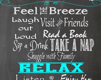 Patio Rules- Metal Art- chalkboard background