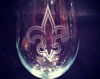 New Orleans Saints Fleur De Lis wine glass, Nola Beer Glass