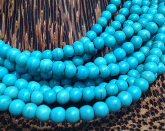 4mm Synthetic Turquoise Beads Strands (G 401)